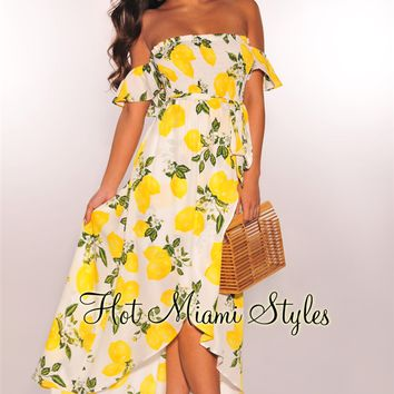 White Lemon Print Smocked Off Shoulder Belted Maxi Dress