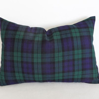 Blue Green Tartan Plaid Pillow, Lumbar, Blackwatch Plaid Pillows,Traditional Plaid, Back to School Decor, Preppy Plaid Cushion Covers 12x18