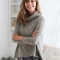 Aerie Split Back Turtleneck Sweater, Gray