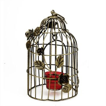 "10"" Decorative Antique Gold Finish Birdcage Tea Light Candle Holder Lantern with Rose Flowers"