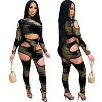 Women Sexy Fashion Printed Velour Two Piece Cut Out Crop Top Pant Set