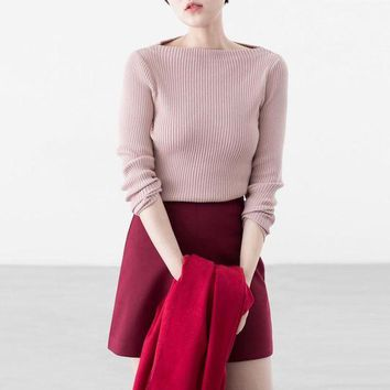 LMFUX5 Fashion word collar bodycon knit sweater