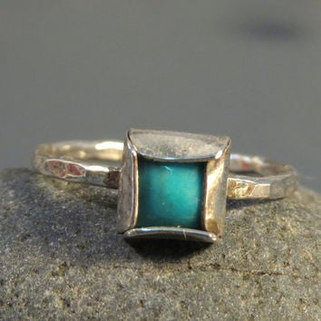 Turquoise stack ring sterling silver, Square gemstone ring, December birthstone ring, Alternative engagement ring Turquoise jewelry