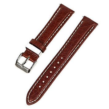 18mm Dark Brown w/ White Stitching Thick Leather Watch Band Fits Timex Expedition