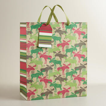 Scandi Moose Jumbo Gift Bag - World Market