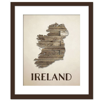 Ireland Map Art Print - Country Map - Wood Background Rustic Art Poster - Geography Poster - Ireland Poster - Irish Decor - Ireland Wall Art