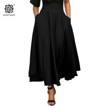 CREYLD1 NORA TWIPS 2018 Spring Fashion Skirt With Pocket High Quality Cotton Solid Ankle-Length Vintage Skirt For Women Black Long Skirt