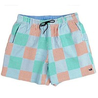 Dockside Swim Trunk in Red, Green, and Blue Seersucker Patches by Southern Marsh - FINAL SALE