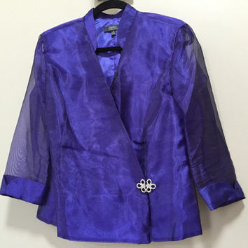 Vintage Formal Jacket, Blue Purple Organza Evening Jacket. Crystal Rhinestone Clasp, Sheer Sleeves Asymmetrical Front Hook Deep V Overlap 10