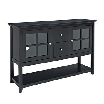 Uniquely styled Wood Console Table TV Stand In Black by Walker Edison