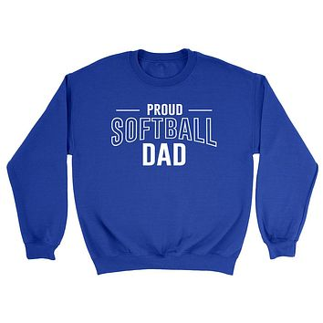 Proud softball dad  team squad game day sport dad love softball  Father's day Crewneck Sweatshirt