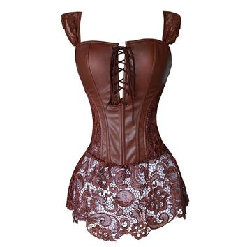 Faux Leather Corset Dress Steampunk Zip Corselet Gothic Clothing Black Coffee Red Lingerie Sexy Party Outfits S-6XL Plus Size