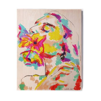 "CECIBD ""Myspring"" Tan Multicolor Floral Abstract Painting Mixed Media Birchwood Wall Art"