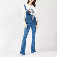 Autumn Casual Slim Denim Pants Overalls Women Stretch Skinny Flare Pants Trousers European Style Long Pants Jeans EM1634-0827