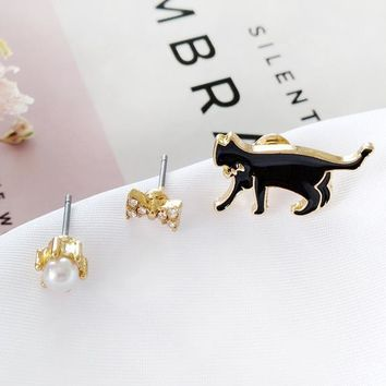 Free Shipping Cute Alloy Enamel Cat Kitten Bow Pearl Stud Earrings Jewelry Fashion Earrings For Women