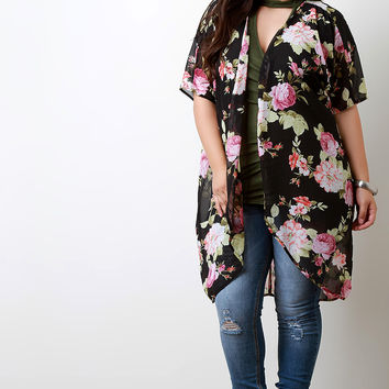 Floral Printed Chiffon Open Front Long Cardigan