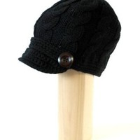 Amazon.com: ACABK2913 BLACK Cable Pattern Hand Knitted Newsboy Hat with 1 inch short visor and wooden buttons on the side for an all year round trendy look: Clothing
