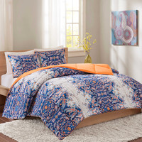 Intelligent Design Minnet Reversible Comforter Set in Blue
