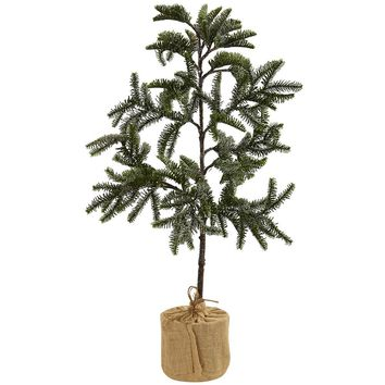 Artificial Silk Tree -3 Ft Iced Pine Tree With Burlap Base
