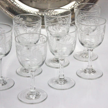 Etched Crystal Cordials / Wisteria Pattern / SET of 7  / Hand Blown / Rare