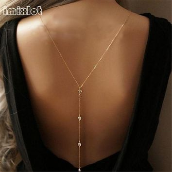 ac PEAPO2Q imixlot 2017 New Women Design Crystal Backdrop Necklace Gold Color Back Body Chain Jewelry Wedding Backless Dress Accessories