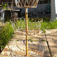 Vintage Victorian Three Tier Wire Plant Stand, Shabby Garden, Rustic Farmhouse