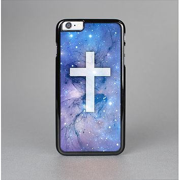 The Vector White Cross v2 over Purple Nebula Skin-Sert for the Apple iPhone 6 Plus Skin-Sert Case