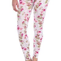 spring floral print stretch cotton leggings - debshops.com