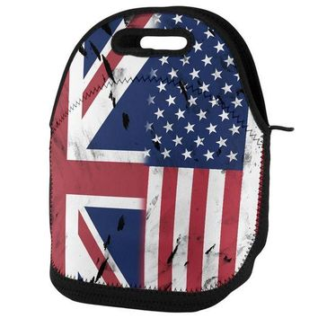 PEAPGQ9 British UK American USA Flag Lunch Tote Bag