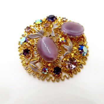 Vintage Givre Glass Rhinestone Brooch, Filigree Rhinestone Pin, Made In Austria Lavender Givre Glass,  Enamel Leaves