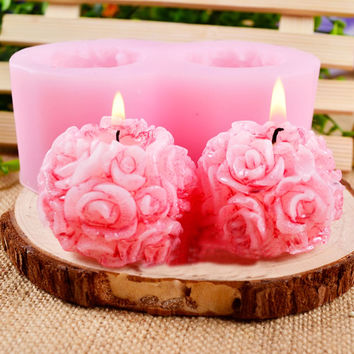 3D Rose Cake Mold Flower Ball Shaped Silicone Decorative Soap Candle