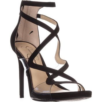 Jessica Simpson Roelyn Heeled Strappy Sandals, Black, 8 US / 38 EU