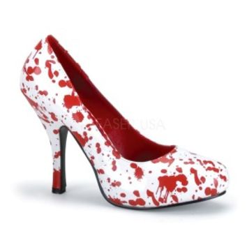 BLOODY-12 Wht Pat-Red Heels