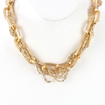 Interlaced Multi Chain Chunky Link Bib Necklace
