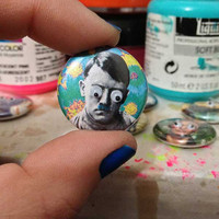 googlie eyed Grumpy Hitler. original geek art embellished 1-inch pin / button or magnet by Kymm! Bang / GoogliePop