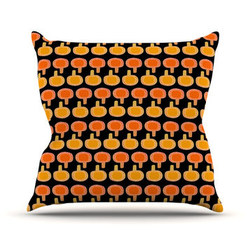 "Jane Smith ""Vintage Mushroom"" Orange Black Throw Pillow"