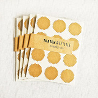 48 Kraft Brown Starburst Stickers - 1 Inch Holiday Labels Envelope Seals Gift Wrapping Party Invitations Pretty Packaging