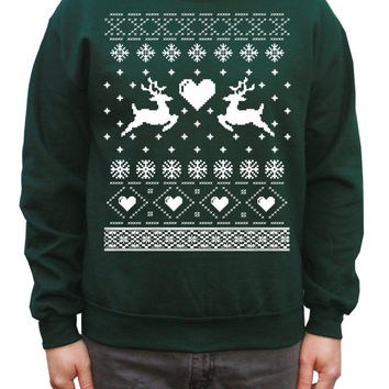 Ugly Christmas Sweater Reindeers in Love Pullover Sweatshirt in S, M, L, XL, XXL