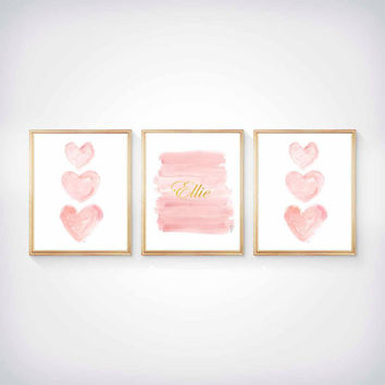 Blush and Gold Nursery Art, Set of 3 - 8x10 Watercolor Prints, Pink and Gold Wall Art, Pink and Gold Art, Blush Pink and Gold Nursery,