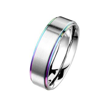 Rainbow Forever - Stainless Steel Unisex Band With Rainbow Ion Plated Stepped Edges