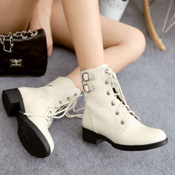 PU Round Toe Low Heel Metal Buckle Lace Up Short Boots