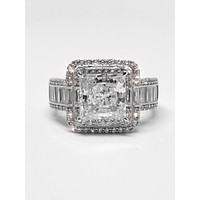 A Flawless 5.1CT Princess Cut Double Halo Russian Lab Diamond Engagement Ring