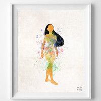 Pocahontas Art, Disney Princess Indian, Watercolor Painting, Print, Poster, Art, Illustration, Watercolour, Nursery Room, Decor [NO 347]