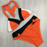 Orange Halter Bikini Set Beach Holiday Swimsuit Swimwear