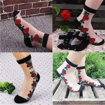 Women Crystal Sock Sheer Thin Transparent Ice Silk Lace Ankle Flower Socks HUCA