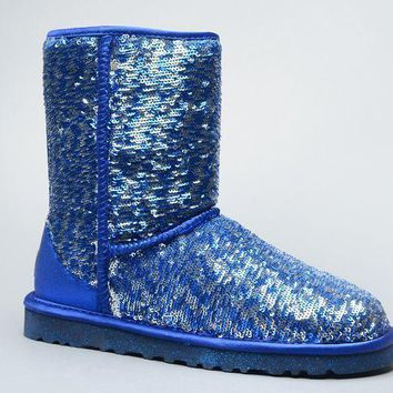 ESBON UGG 1002978 Flipped Over Sparkles Women Fashion Casual Wool Winter Snow Boots Blue