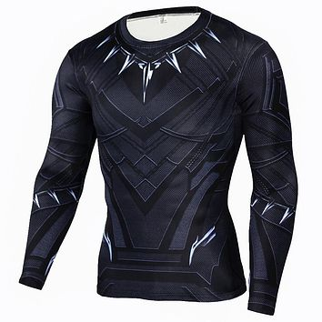 Civil War Black Panther 3D T-shirts Captain America Tee Long Sleeve Cosplay Halloween Costumes Compression Tops