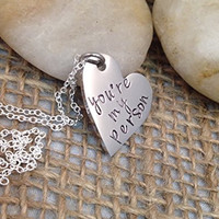 You're My Person Hand Stamped Heart Necklace - Hand Stamped Jewelry - Grey's Anatomy Necklace