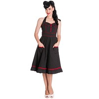 Hell Bnny 60's Rockabilly Vintage Polka Dot and Red Piping Black Halter Party Dress - Vanity Dress