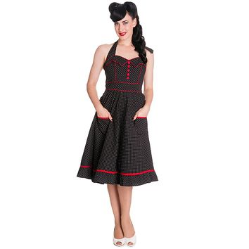 60's Rockabilly Love Polka Dot and Red Piping Swing Dress - Vanity Dress